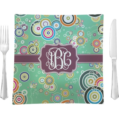 """Colored Circles 9.5"""" Glass Square Lunch / Dinner Plate- Single or Set of 4 (Personalized)"""