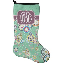 Colored Circles Christmas Stocking - Single-Sided - Neoprene (Personalized)