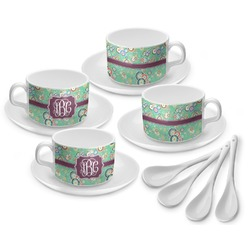 Colored Circles Tea Cup - Set of 4 (Personalized)