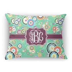 Colored Circles Rectangular Throw Pillow Case (Personalized)