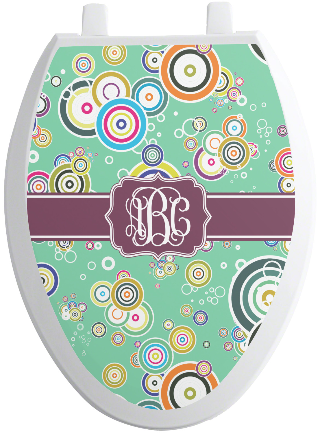 colored circles toilet seat decal round personalized. Black Bedroom Furniture Sets. Home Design Ideas