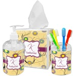 Ovals & Swirls Acrylic Bathroom Accessories Set w/ Name and Initial