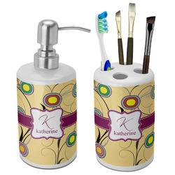 Ovals & Swirls Ceramic Bathroom Accessories Set (Personalized)