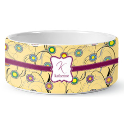 Ovals & Swirls Ceramic Dog Bowl (Personalized)