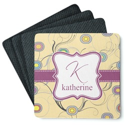 Ovals & Swirls 4 Square Coasters - Rubber Backed (Personalized)