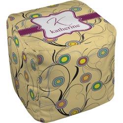 Ovals & Swirls Cube Pouf Ottoman (Personalized)