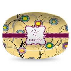 Ovals & Swirls Plastic Platter - Microwave & Oven Safe Composite Polymer (Personalized)