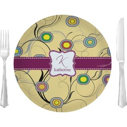 "Ovals & Swirls Glass Lunch / Dinner Plates 10"" - Single or Set (Personalized)"
