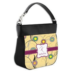 Ovals & Swirls Hobo Purse w/ Genuine Leather Trim (Personalized)