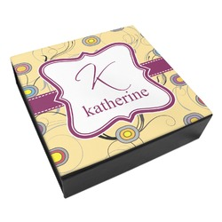 Ovals & Swirls Leatherette Keepsake Box - 8x8 (Personalized)
