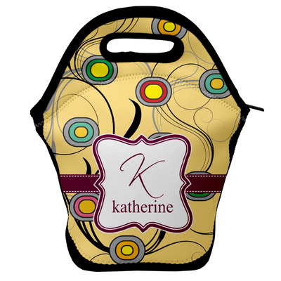 Ovals & Swirls Lunch Bag w/ Name and Initial