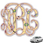 Ovals & Swirls Monogram Car Decal (Personalized)