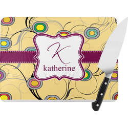Ovals & Swirls Rectangular Glass Cutting Board (Personalized)
