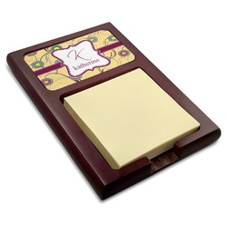 Ovals & Swirls Red Mahogany Sticky Note Holder (Personalized)