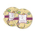 Ovals & Swirls Sandstone Car Coasters (Personalized)