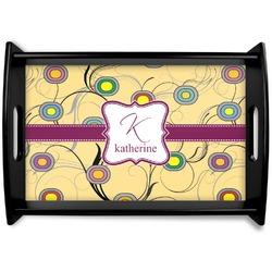 Ovals & Swirls Black Wooden Tray (Personalized)