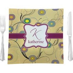 "Ovals & Swirls Glass Square Lunch / Dinner Plate 9.5"" - Single or Set of 4 (Personalized)"