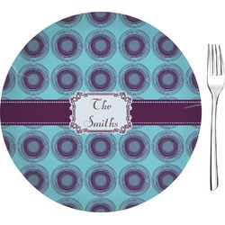 "Concentric Circles Glass Appetizer / Dessert Plates 8"" - Single or Set (Personalized)"