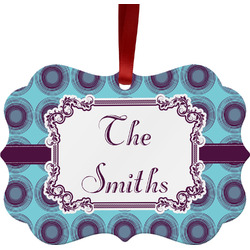 Concentric Circles Metal Frame Ornament - Double Sided w/ Name or Text