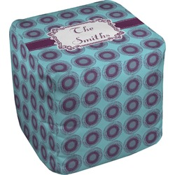 Concentric Circles Cube Pouf Ottoman (Personalized)
