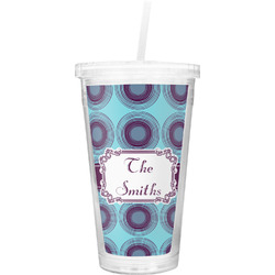 Concentric Circles Double Wall Tumbler with Straw (Personalized)
