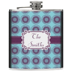 Concentric Circles Genuine Leather Flask (Personalized)