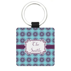 Concentric Circles Genuine Leather Rectangular Keychain (Personalized)