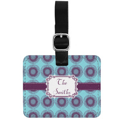 Concentric Circles Genuine Leather Luggage Tag w/ Name or Text