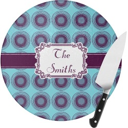 Concentric Circles Round Glass Cutting Board (Personalized)