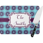 Concentric Circles Rectangular Glass Cutting Board (Personalized)