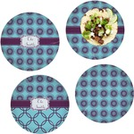 Concentric Circles Set of 4 Lunch / Dinner Plates (Glass) (Personalized)
