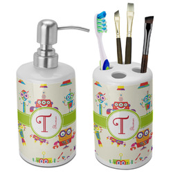Rocking Robots Bathroom Accessories Set (Ceramic) (Personalized)
