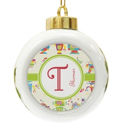 Rocking Robots Ceramic Ball Ornament (Personalized)