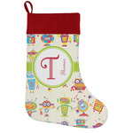 Rocking Robots Holiday Stocking w/ Name and Initial
