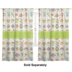 "Rocking Robots Curtains - 20""x63"" Panels - Lined (2 Panels Per Set) (Personalized)"