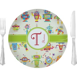 """Rocking Robots 10"""" Glass Lunch / Dinner Plates - Single or Set (Personalized)"""