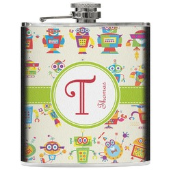 Rocking Robots Genuine Leather Flask (Personalized)