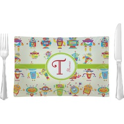 Rocking Robots Rectangular Glass Lunch / Dinner Plate - Single or Set (Personalized)