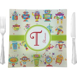"""Rocking Robots 9.5"""" Glass Square Lunch / Dinner Plate- Single or Set of 4 (Personalized)"""