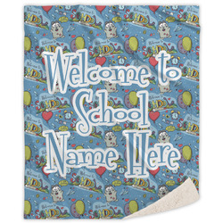 Welcome to School Sherpa Throw Blanket (Personalized)