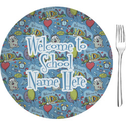 """Welcome to School 8"""" Glass Appetizer / Dessert Plates - Single or Set (Personalized)"""
