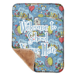 """Welcome to School Sherpa Baby Blanket 30"""" x 40"""" (Personalized)"""