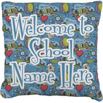 Welcome to School Faux-Linen Throw Pillow (Personalized)