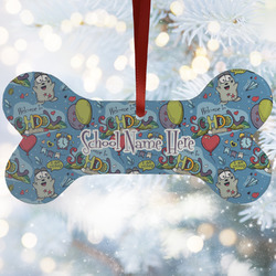 Welcome to School Ceramic Dog Ornaments w/ Name or Text
