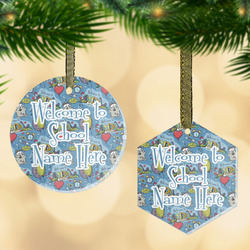 Welcome to School Flat Glass Ornament w/ Name or Text