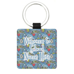 Welcome to School Genuine Leather Rectangular Keychain (Personalized)