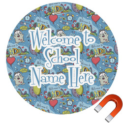 """Welcome to School Round Car Magnet - 6"""" (Personalized)"""