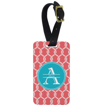 Linked Rope Metal Luggage Tag w/ Name and Initial