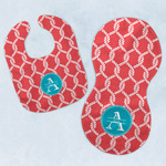 Linked Rope Baby Bib & Burp Set w/ Name and Initial