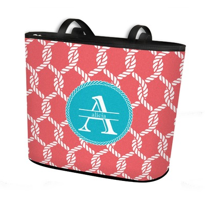 Linked Rope Bucket Tote w/ Genuine Leather Trim (Personalized)